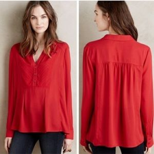 Anthropologie De Stijl Red Long Sleeve Blouse